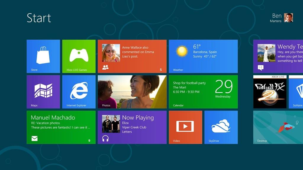Der neue Start-Bildschirm von Windows 8