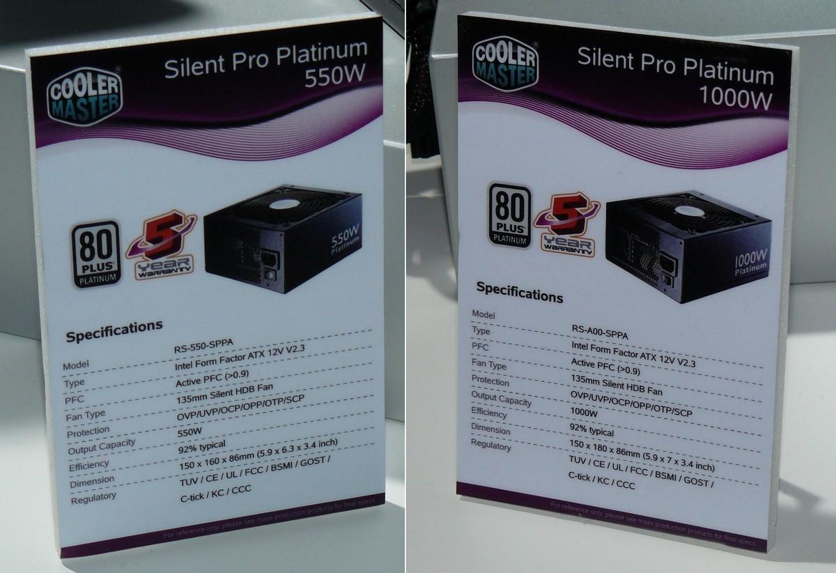 Cooler Master Silent Pro Platinum Specs