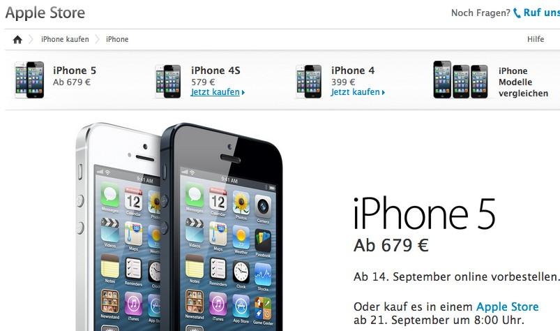 Online-Angebot von Apple