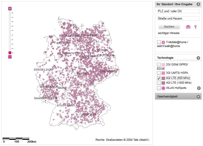 Telekom LTE-Netzabdeckung 800 MHz