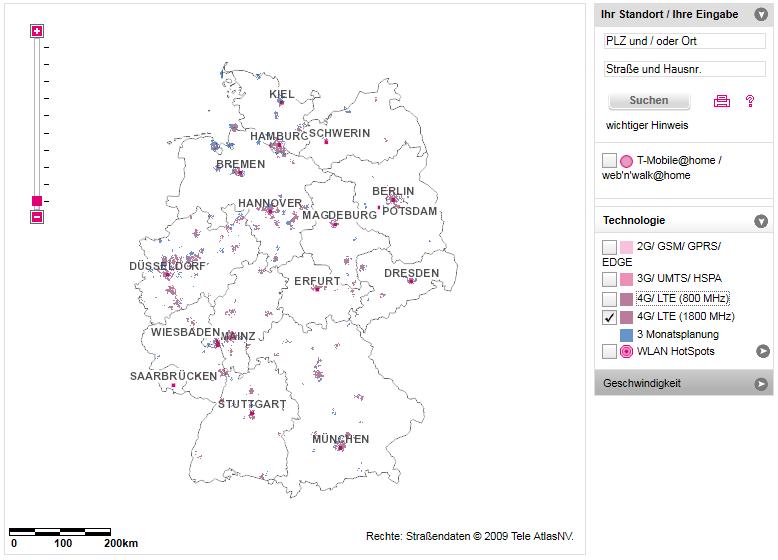 Telekom LTE-Netzabdeckung 1.800 MHz