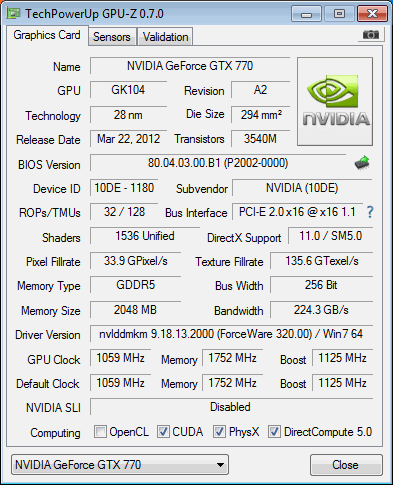 GPU-Z Infos der zur GTX 770 geflashten GTX 680
