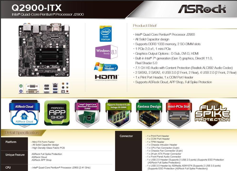 AsRock Q2900-ITX Specs
