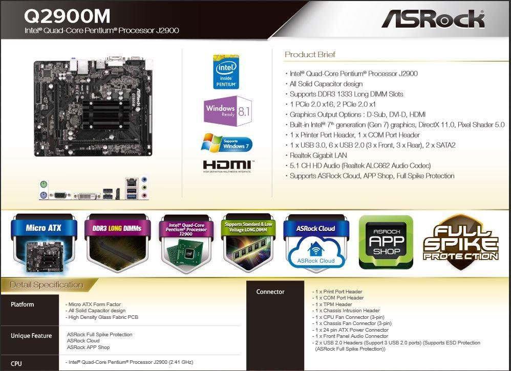 AsRock Q2900M Specs
