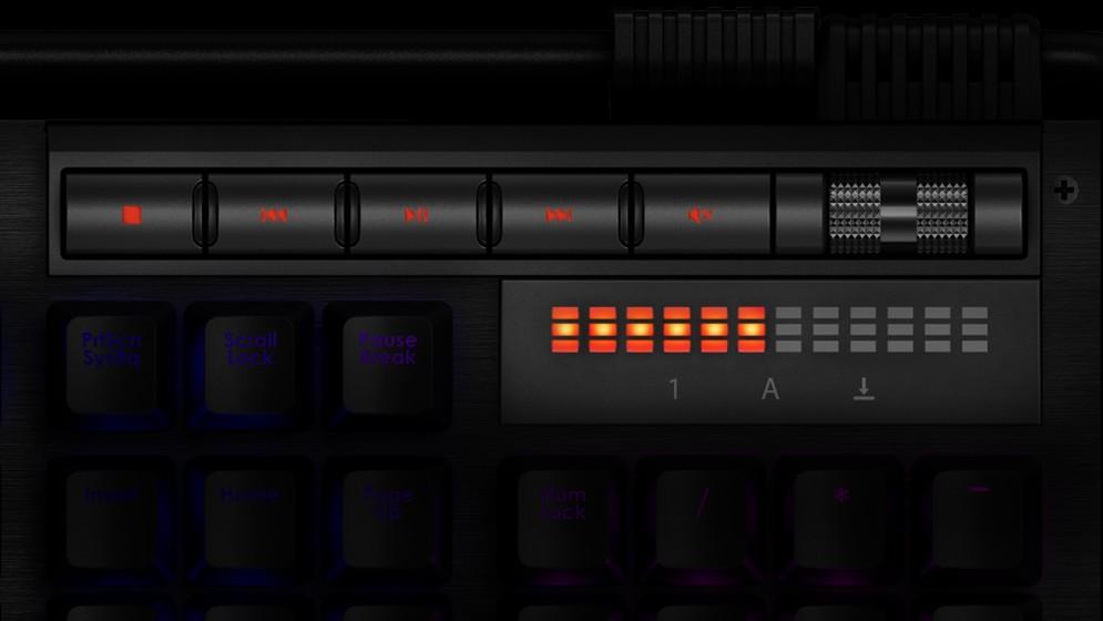 Media-Tasten und LED-Lautstärkeanzeige