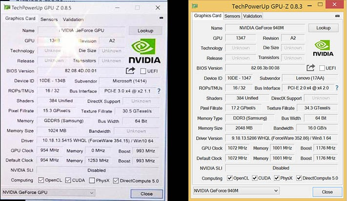 GPU-Z (rechts zum Vergleich eine 940M)