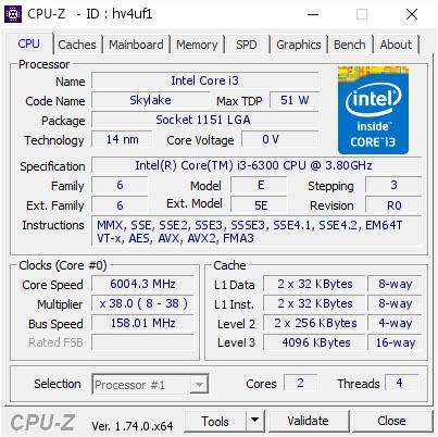 Core i3-6300 mit 6,0 GHz
