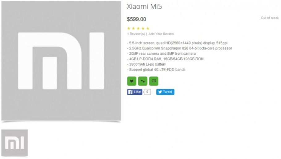 XIaomi Mi5 bei oppomart.com