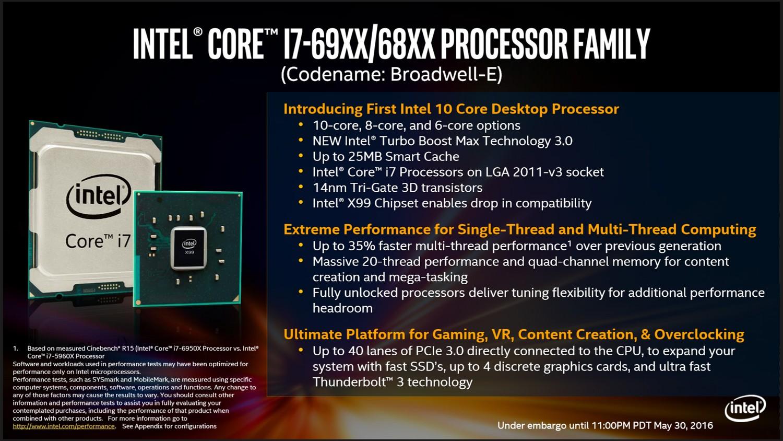 Intel Core i7 Broadwell-E Übersicht