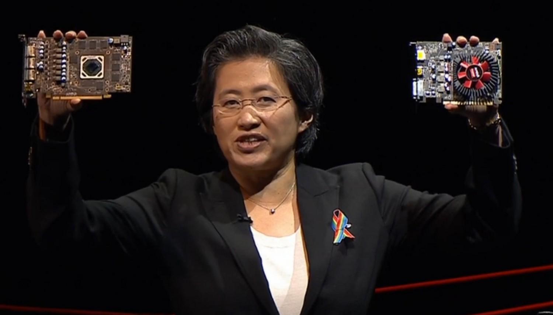 AMD-Chefin Lisa- Su mit Radeon RX 470 (links) und RX 460 (rechts)