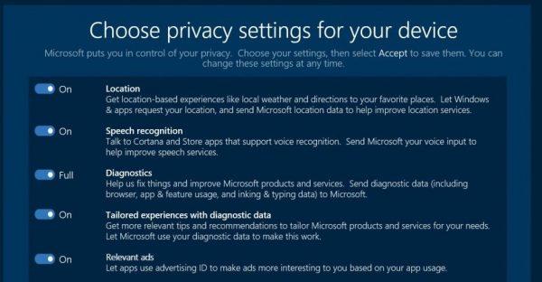 Creators Update Privacy Settings