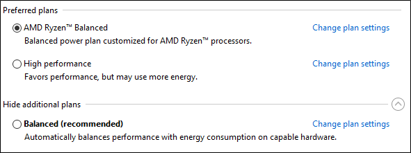 AMD Ryzen Balanced Plan