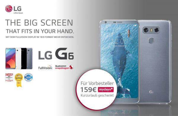 LG G6 mydays Gutschein Kurzurlaub