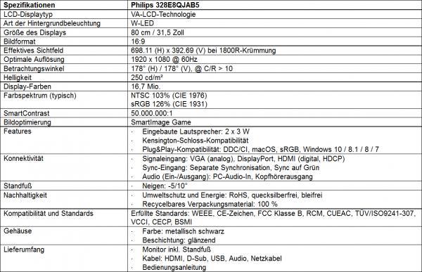 Philips 328E8QJAB5 Daten