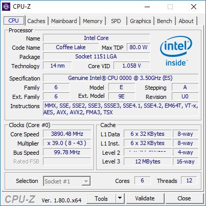 Intel Coffee Lake ES CPU-Z