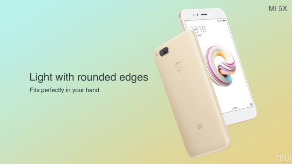 Xiaomi Mi 5X Light with rounded edges