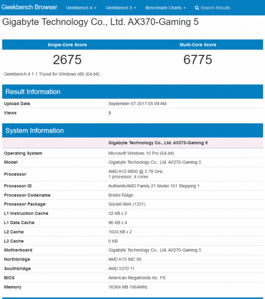 AMD A12-9800 Geekbench