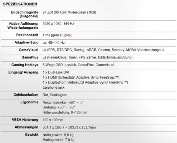 ASUS ROG Strix XG27VQ Specs