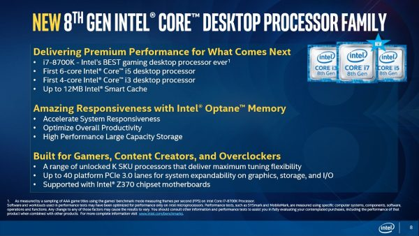 Core 8th Gen Desktop CPU family