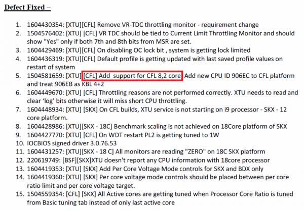 Intel Coffee Lake 8C Support Document