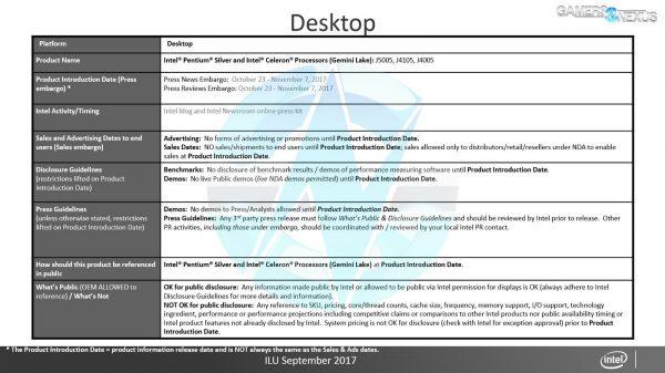 Intel Roadmap Desktop Pentium 2017