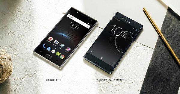 Oukitel K3 vs Sony Xperia XZ front