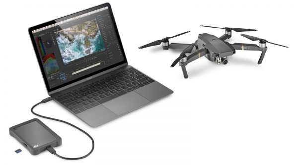 Seagate Fly Drive with notebook and drone