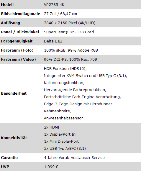 VP2785-4K Daten