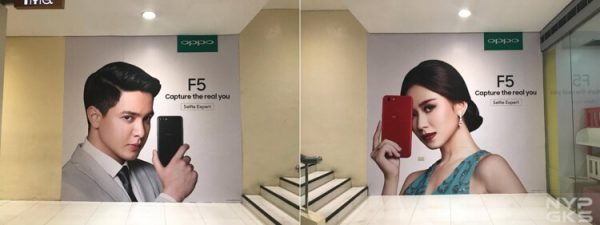 Oppo F5 Werbeposter mit Alden Richards and Sarah Geronimo